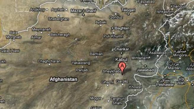 Mapa de Afganistán, en donde aparece señalada la zona en la que ha tenido lugar el ataque suicida contra un hospital.