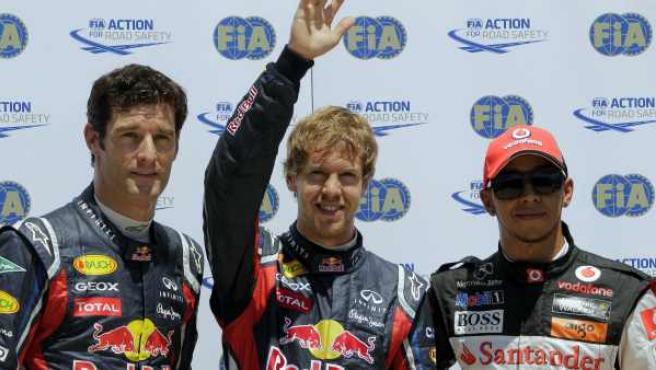 Sebastian Vettel, Mark Webber y Lewis Hamilton, los tres primeros en la parrilla de salida en Valencia.