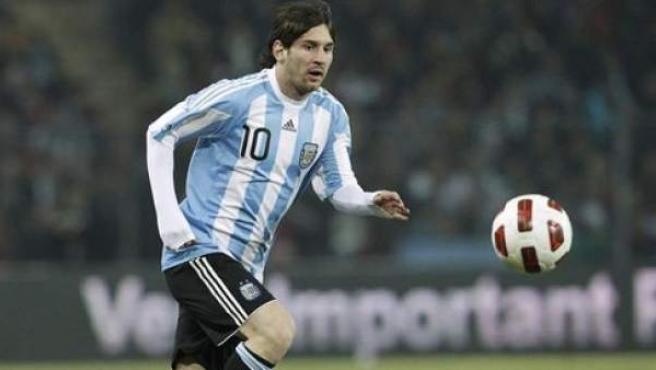 Leo Messi en un partido con la selección de Argentina.