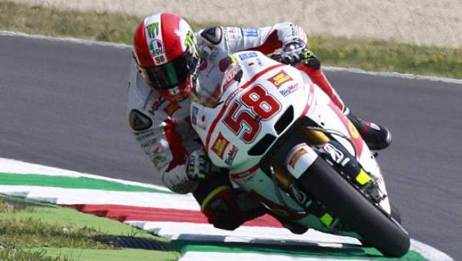 Marco Simoncelli, piloto de Honda, durante los entrenamientos del Gran Premio de Italia.