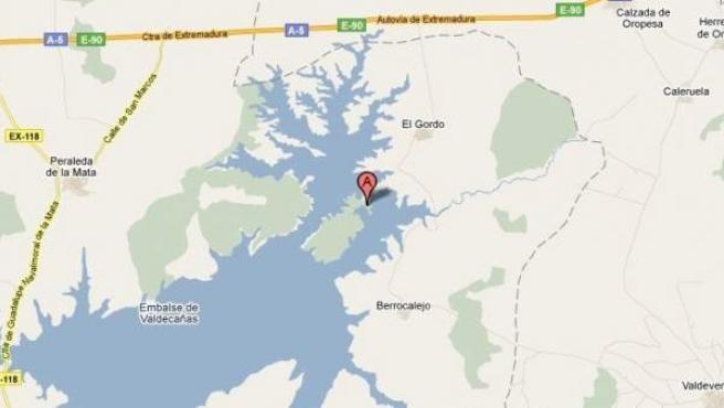 Captura de Google Maps de El Górdo (Cáceres), lugar de la explosión.