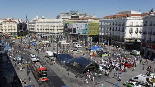 La Puerta del Sol, días después del levantamiento de la acampada de los 'indignados'.