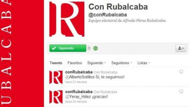 Twitter del equipo electoral de Rubalcaba.