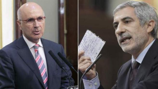Los portavoces de CiU e IU en el Congreso, Josep Antoni Duran i Lleida y Gaspar Llamazares.