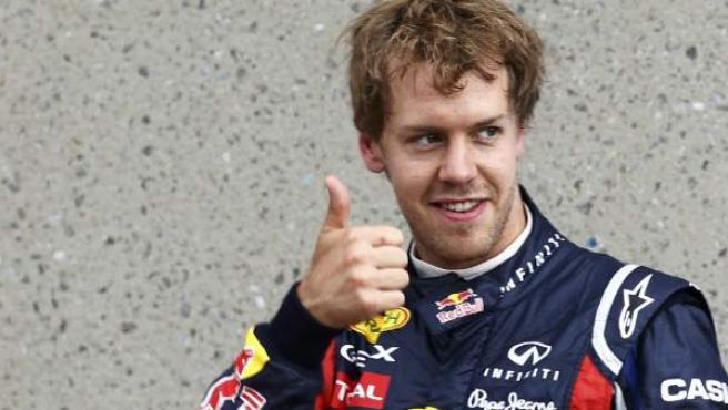 Sebastian Vettel, piloto de Red Bull, celebra su 'pole' en el Gran Premio de Canadá.