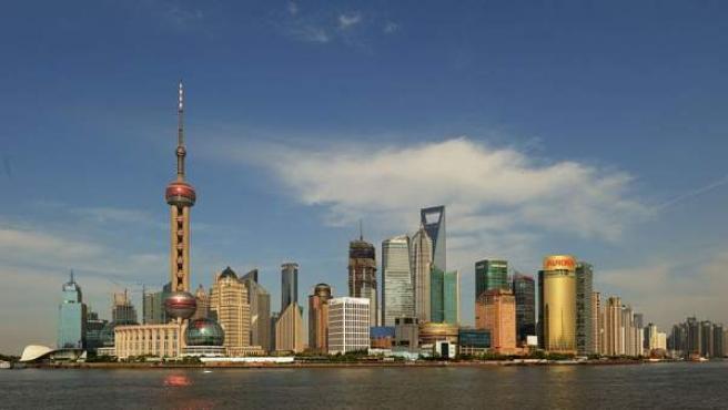Imagen panorámica de la ciudad de Shanghai (China).