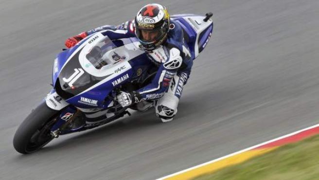 Jorge Lorenzo, piloto de Yamaha, durante los entrenamientos del Gran Premio de Alemania.
