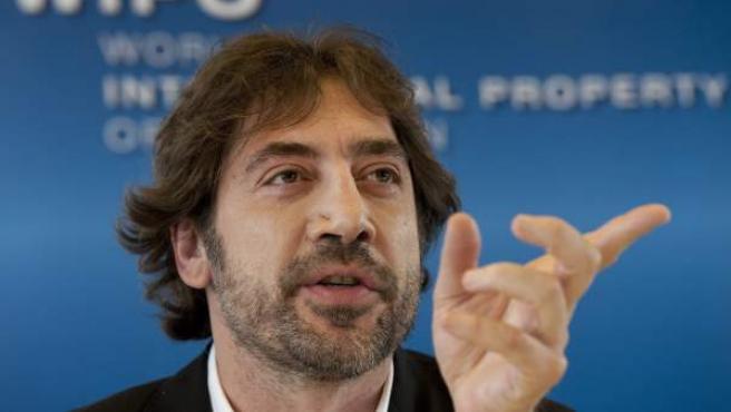 El actor español, Javier Bardem, asiste a una rueda de prensa en la sede de la Organización Mundial de la Propiedad Intelectual (OMPI) en Ginebra.