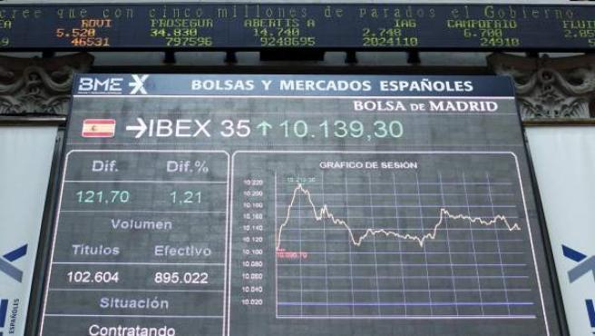 El panel de la Bolsa de Madrid, este viernes.