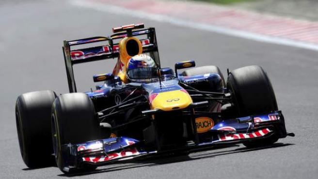 El piloto alemán Sebastian Vettel (Red Bull), durante los entrenamientos libres de cara la celebración del Gran Premio de Hungría de Fórmula Uno.