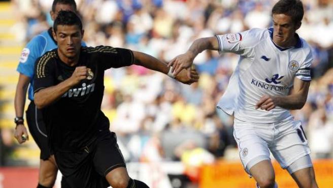 Cristiano Ronaldo, en el enfrentamiento contra el Leicester City.