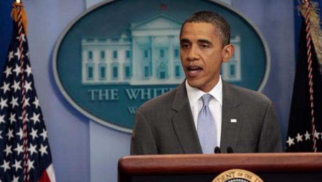 El presidente de Estados Unidos Barack Obama ofrece una conferencia de prensa en la Casa Blanca.