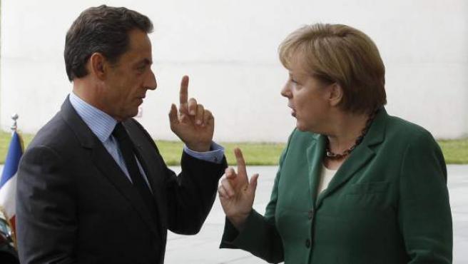 Angela Merkel y Nicolas Sarkozy, en Berlín.
