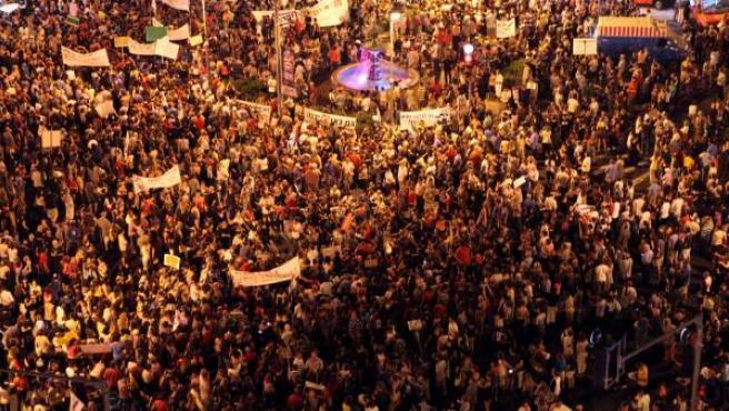 Un momento de la manifestación de los 'indignados' de Israel en la capital del país, Tel Aviv.