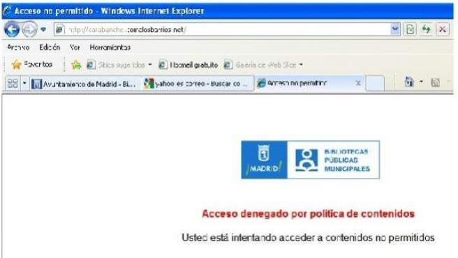 Las webs del 15-M, vetadas en las bibliotecas municipales.