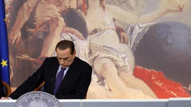 El primer ministro italiano, Silvio Berlusconi, durante su anuncio del plan de ajuste económico.