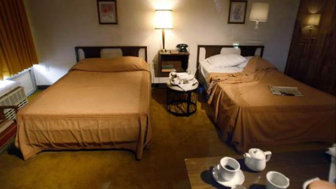 Un dormitorio en una imagen de archivo.