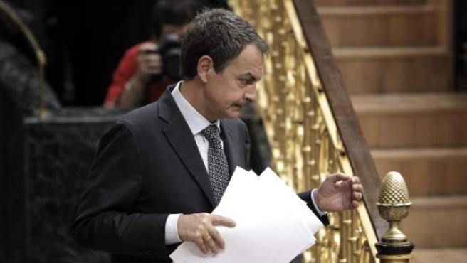 El presidente del Gobierno, José Luis Rodríguez Zapatero, tras su intervención hoy en el pleno extraordinario del Congreso.