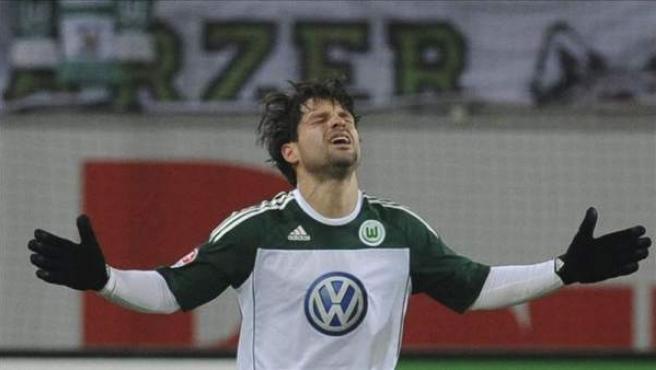 Diego celebra un gol con su equipo, el Wolfsburgo.