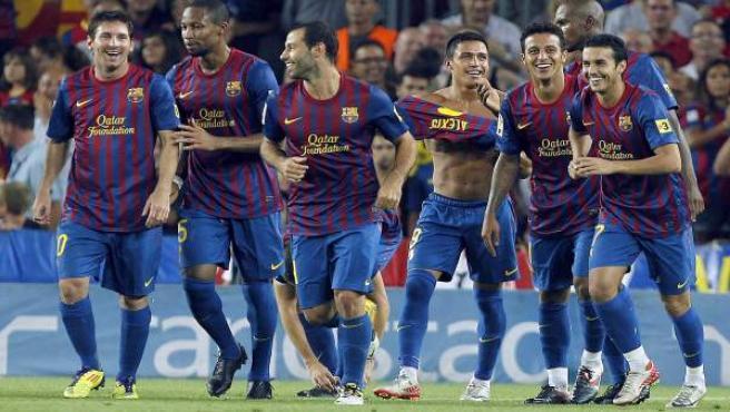 El Barça celebra un gol en el Camp Nou.