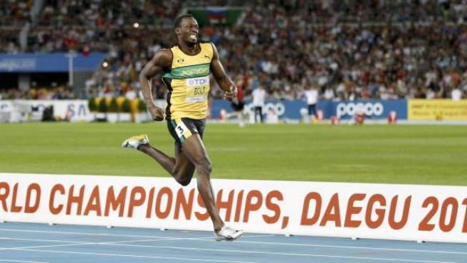Bolt, en los últimos metros de la final de los 200 metros lisos.