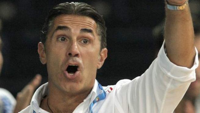 Sergio Scariolo, seleccionador de España de baloncesto, durante un partido del Eurobasket.