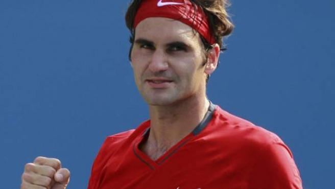 Roger Federer celebra su victoria ante Marin Cilic en el US Open.