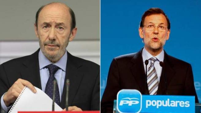 Los principales candidatos para las próximas elecciones generales del 20-N: a la izquierda, el candidato del PSOE, Alfredo Pérez Rubalcaba, y a la derecha, el líder del PP, Mariano Rajoy.