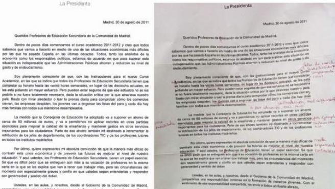 Dos versiones de la carta de Aguirre a los profesores, a la izquierda la que Educación da por buena y única, a la derecha la que han dicho recibir los profesores.