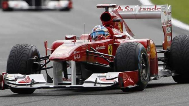Fernando Alonso, piloto de Ferrari, durante el Gran Premio de Bélgica.