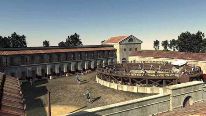 Recreación de la escuela de gladiadores cuyos fundamentos han sido descubiertos en Austria.