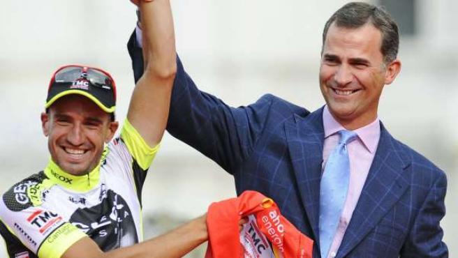 Cobo y el Príncipe Felipe, en el podio de Madrid.
