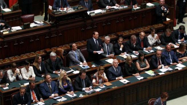 Berlusconi, en su intervención este miércoles ante el Parlamento de Italia.