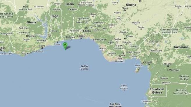 El barco fue secuestrado a unas 60 millas de la costa de Togo.