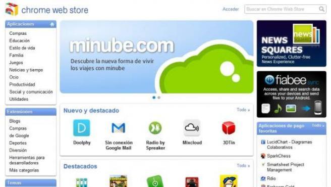La Chrome Web Store en español.
