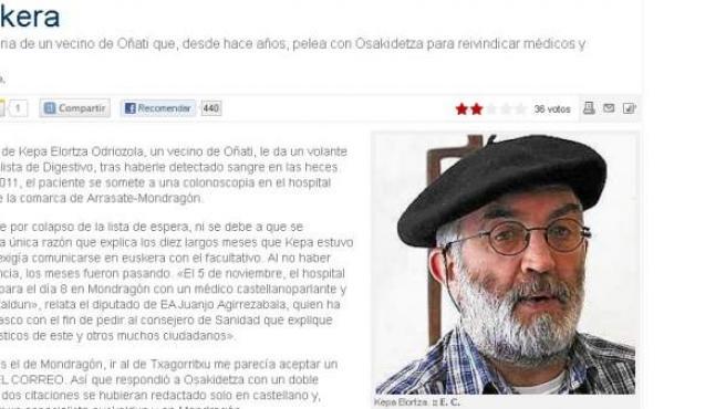 Kepa Elortza Odriozola, en la imagen que aparece en Elcorreo.es.