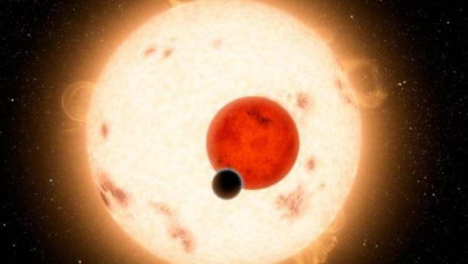 Recreación de un planeta con dos soles.