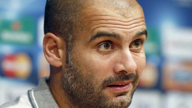 Pep Guardiola, entrenador del Barcelona, en rueda de prensa.