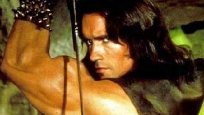 Arnold Schwarzenegger, caracterizado como 'Conan el Bárbaro'.
