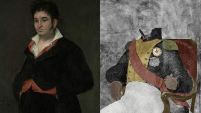'Retrato de Don Ramón Satué', de Goya (izquierda), y la pintura oculta.