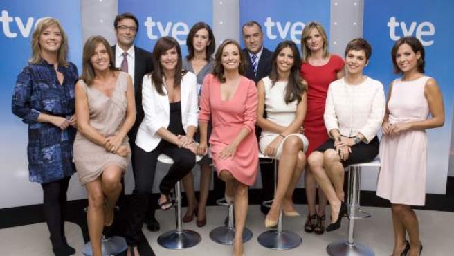 Una imagen de los principales presentadores de informativos de TVE.