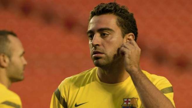 El jugador del FC Barcelona Xavi Hernández, durante un entrenamiento.