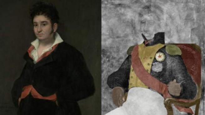 El Retrato de Don Ramón Satué y el misterioso militar francés que se escondía bajo la obra de Goya (arriba, izquierda y derecha.