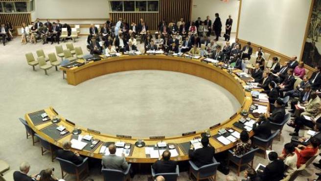 Vista general de la reunión del Consejo de Seguridad de la ONU celebrada en la sede de Naciones Unidas en Nueva York, Estados Unidos.