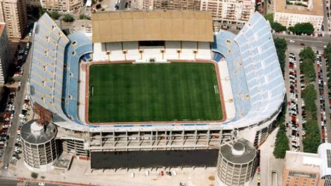 Una vista aérea del estadio de Mestalla.