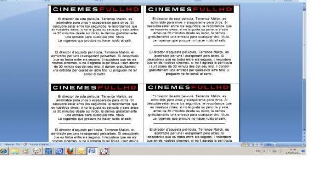 Folleto explicativo de los cines.