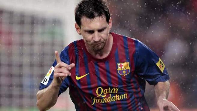 Leo Messi, delantero del Barcelona, celebra uno de sus goles ante el Atlético de Madrid.