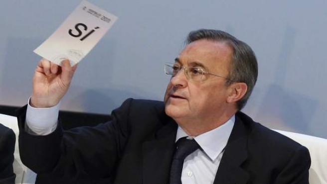 Florentino Pérez, en la Asamblea de Compromisarios.
