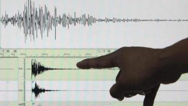 Imagen de un terremoto en un sismógrafo.