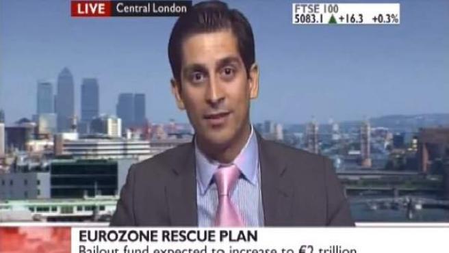 Alessio Rastani, durante su entrevista en la televisión pública británica BBC.